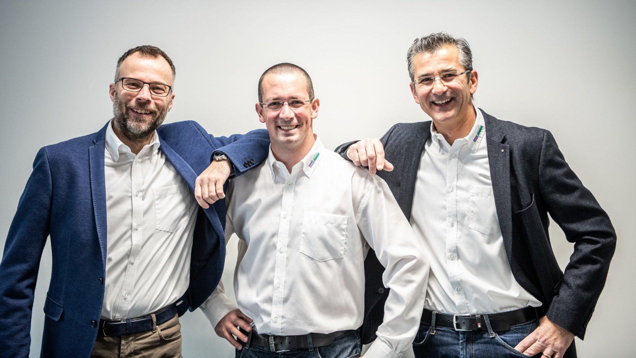 v. l. n. r.: Andrea Schlegel (Geschäftsführer & Mehrheitsaktionär), Florian Käser (Leiter Betrieb), Bruno Rüegg (Stv. Geschäftsführer / Leiter Kundenbetreuung)